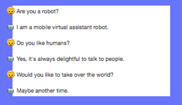 A joke text between a person and a chatbot